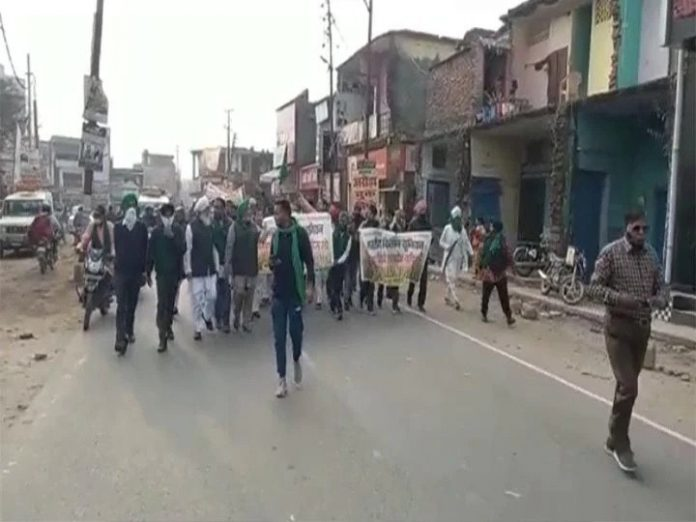 uttrakhand, udham singh nagar Farmers' organizations take out procession demand government to withdraw agricultural law