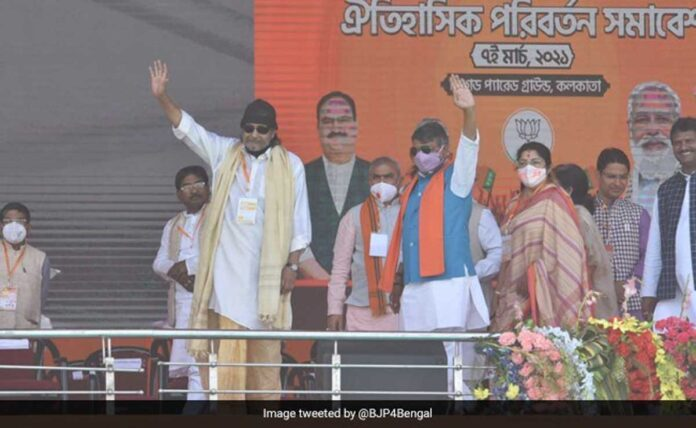 Actor Mithun Chakraborty joined BJP at brigade ground before PM Modi's rally
