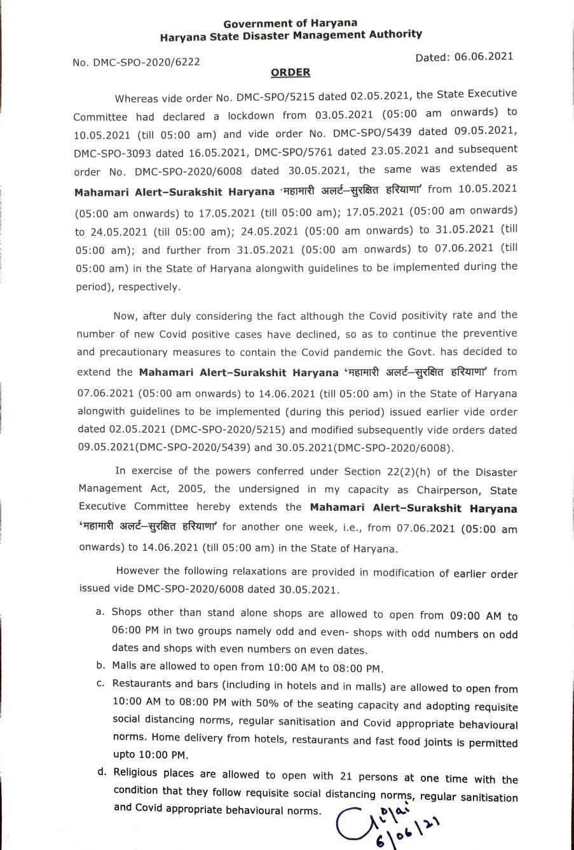 Haryana relaxes Covid Lockdown
