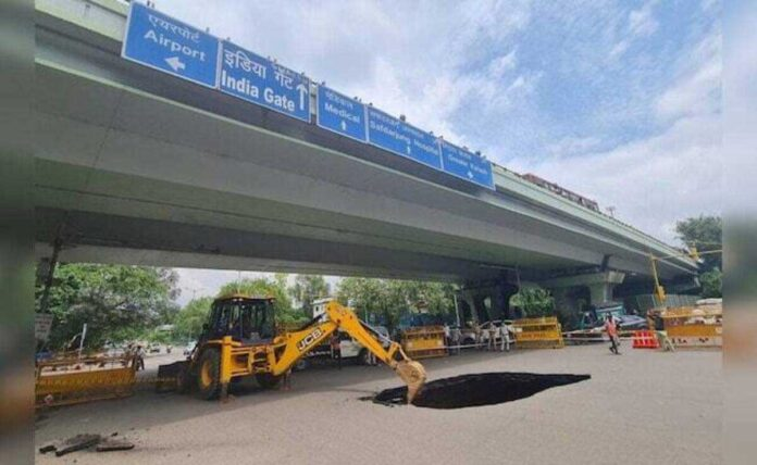 Large stretch of road collapses under IIT Flyover in South Delhi, traffic comes to a standstill
