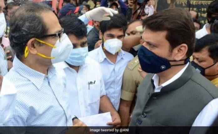 Uddhav Thackeray and Devendra Fadnavis met during a visit to the Flood Effected area