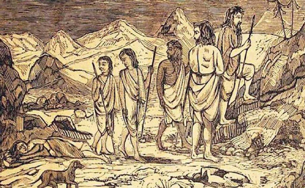 An ancient painting depicting the Pandavas at Panjshir after the Mahabharata war