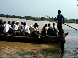 Villagers forced to sail on a broken boat in Hardoi district