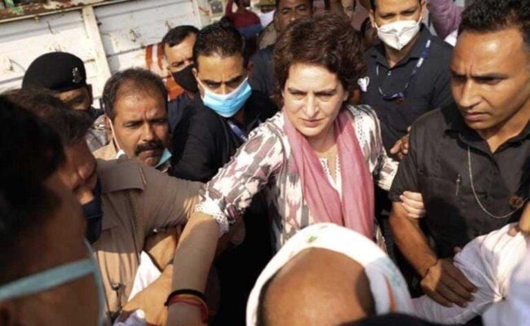 Priyanka Gandhi हिरासत में, पुलिस हिरासत में मरने वाले व्यक्ति के परिवार से मिलने की कोशिश